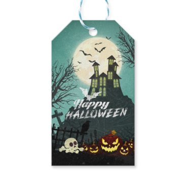 Halloween Themed Spooky Haunted House Costume Night Sky Halloween Gift Tags