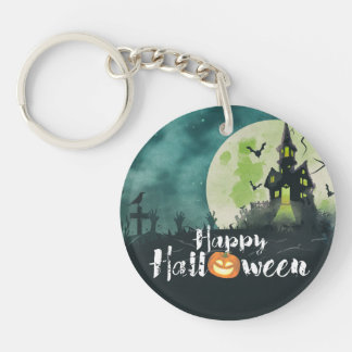 Spooky Haunted House Costume Night Sky Halloween Keychain