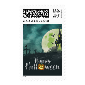 Spooky Haunted House Costume Night Sky Halloween Postage