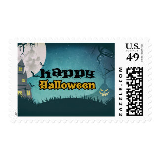 Spooky Haunted House Costume Night Sky Halloween Stamp