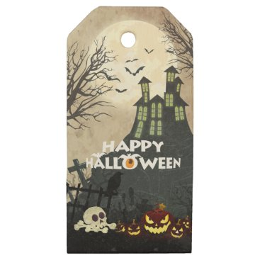 Halloween Themed Spooky Haunted House Costume Night Sky Halloween Wooden Gift Tags