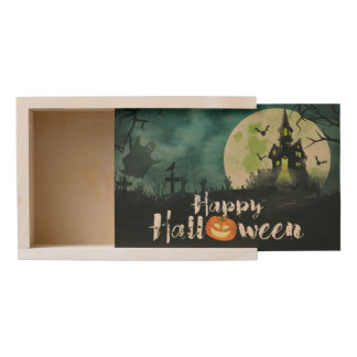 Spooky Haunted House Costume Night Sky Halloween Wooden Keepsake Box