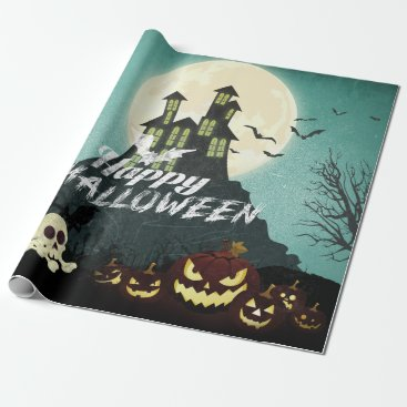 Halloween Themed Spooky Haunted House Costume Night Sky Halloween Wrapping Paper