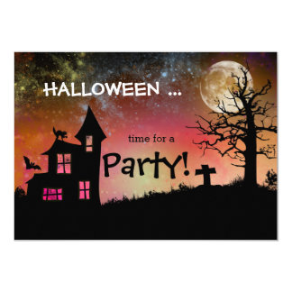 Spooky Haunted House Graveyard Halloween Party Card