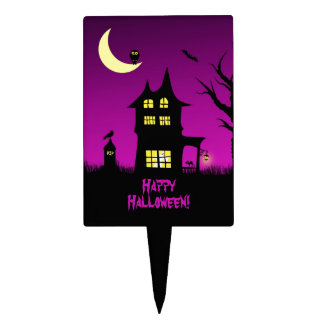 Spooky Haunted House Halloween Cake Picks