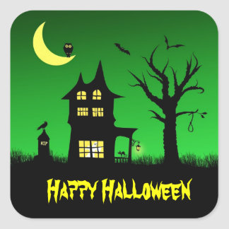 Spooky Haunted House Halloween Decorative Square Sticker
