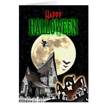 Halloween Themed Spooky Haunted House Halloween Greeting Card