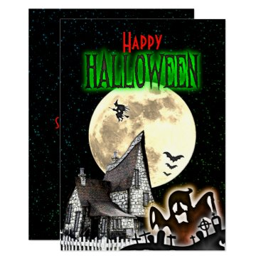 Halloween Themed Spooky Haunted House Halloween Party Invitation