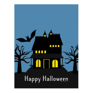 Spooky Haunted House Halloween Postcard