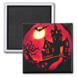 SPOOKY HAUNTED HOUSE HALLOWEEN SQUARE MAGNET