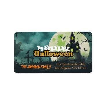 Halloween Themed Spooky Haunted House Night Sky Halloween Address Label