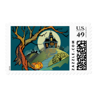 Spooky Haunted House Postage