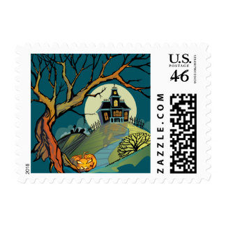 Spooky Haunted House Postage Stamps