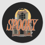 Spooky Haunted House Round Sticker