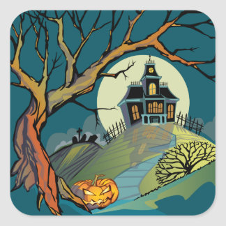 Spooky Haunted House Square Sticker