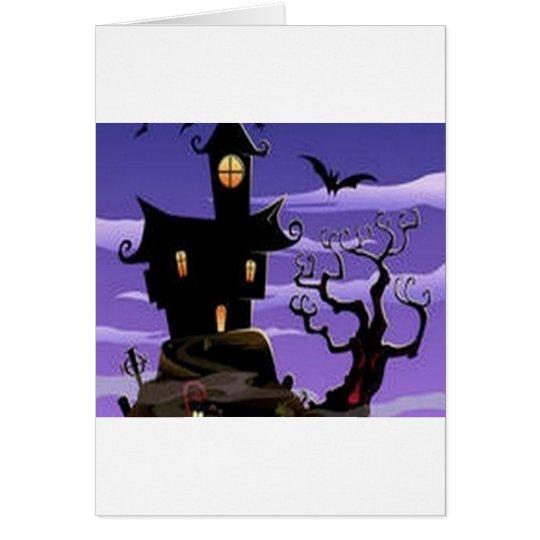 Spooky house design card