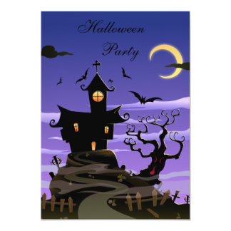 Spooky House Halloween Party Card