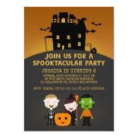 Halloween birthday invitations zazzle spooky house kids halloween birthday invitation filmwisefo Images