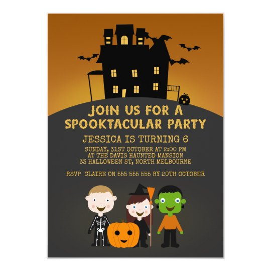 Spooky House Kids Halloween Birthday Invitation