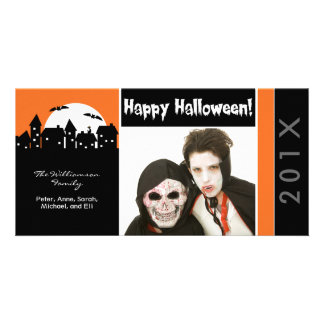 Spooky Houses Family Halloween Photocard Card
