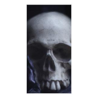Spooky Human Skull Grim Black White Photography Card