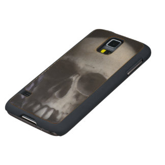 Spooky Human Skull Grim Black White Photography Carved Maple Galaxy S5 Slim Case