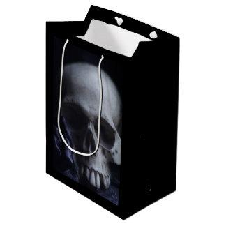 Spooky Human Skull Grim Black White Photography Medium Gift Bag