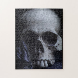 Spooky Human Skull Grim Black White Photography Jigsaw Puzzles