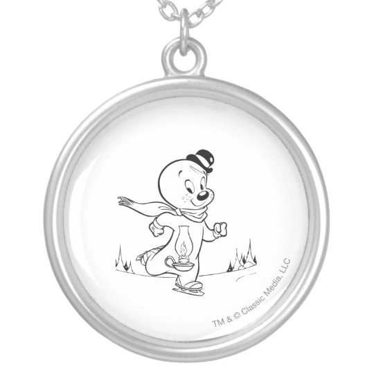 Spooky Ice Skating Silver Plated Necklace