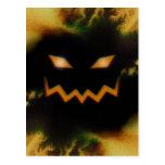 Spooky Jack O Lantern Face Blk Original Orange Post Cards