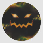 Spooky Jack O Lantern Face Blk Original Orange Round Stickers