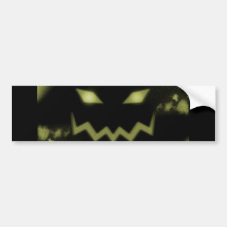 Spooky Jack O Lantern Face Blk Yellow Bumper Sticker