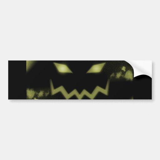 Spooky Jack O Lantern Face Blk Yellow Bumper Sticker