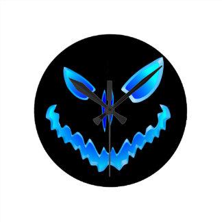 Spooky Jack O Lantern Face Round Wallclocks