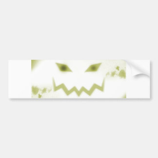 Spooky Jack O Lantern Face Wht Yellow Bumper Sticker