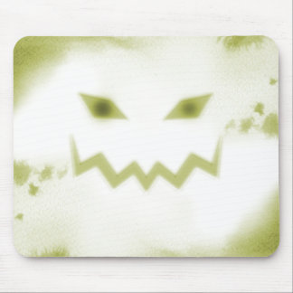 Spooky Jack O Lantern Face Wht Yellow Mouse Pad