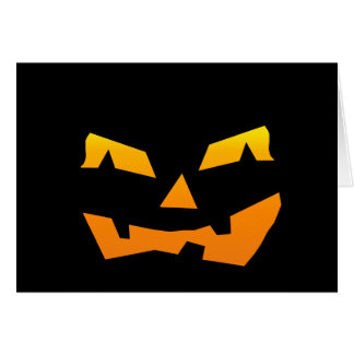 Spooky Jack O Lantern Halloween Pumpkin Face Card
