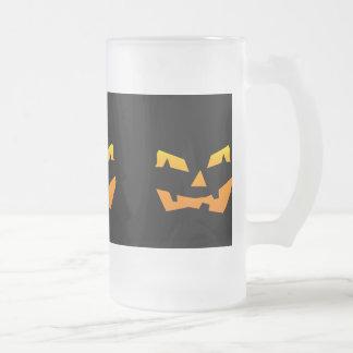 Spooky Jack O Lantern Halloween Pumpkin Face Frosted Glass Beer Mug