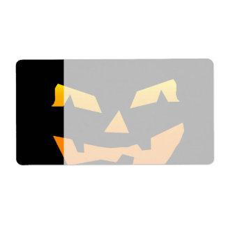 Spooky Jack O Lantern Halloween Pumpkin Face Label