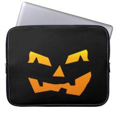 Spooky Jack O Lantern Halloween Pumpkin Face Computer Sleeves