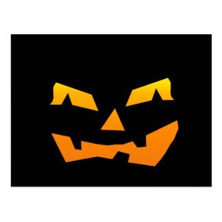Spooky Jack O Lantern Halloween Pumpkin Face Postcard