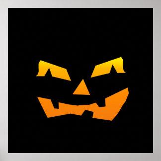 Spooky Jack O Lantern Halloween Pumpkin Face Print
