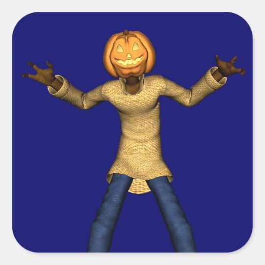 Spooky Jack Pumpkin Square Sticker