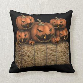 Spooky Jack'o'Lantern Faces Halloween Throw Pillow