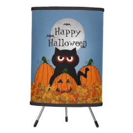 Spooky Kitty Happy Halloween Tripod Lamp