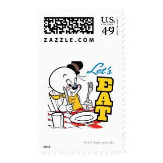 spooky Lets Eat Postage Stamp