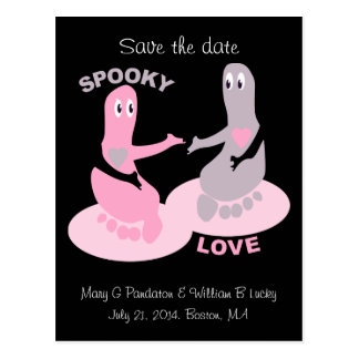 Spooky love, ghost feet, save the date postcard