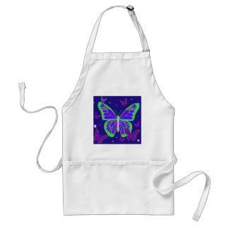 Spooky Luminous Butterflies By Sharles Art Adult Apron