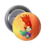 Spooky Mermaid with Octopus 2 Inch Round Button