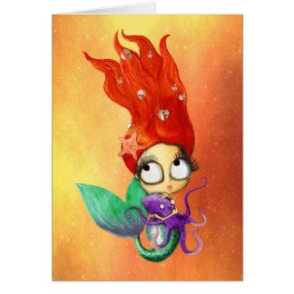 Spooky Mermaid with Octopus Greeting Card